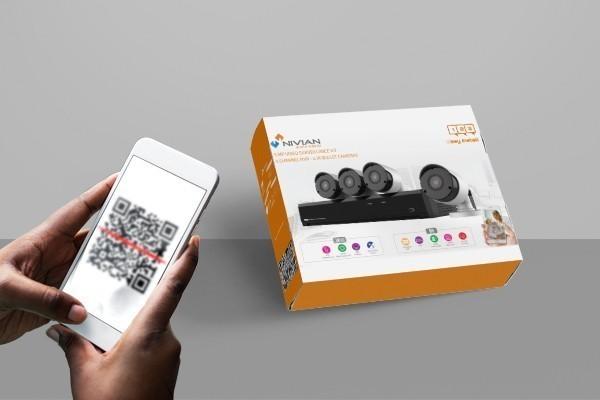 4 caméras Nivian 5Mp pré-configurées